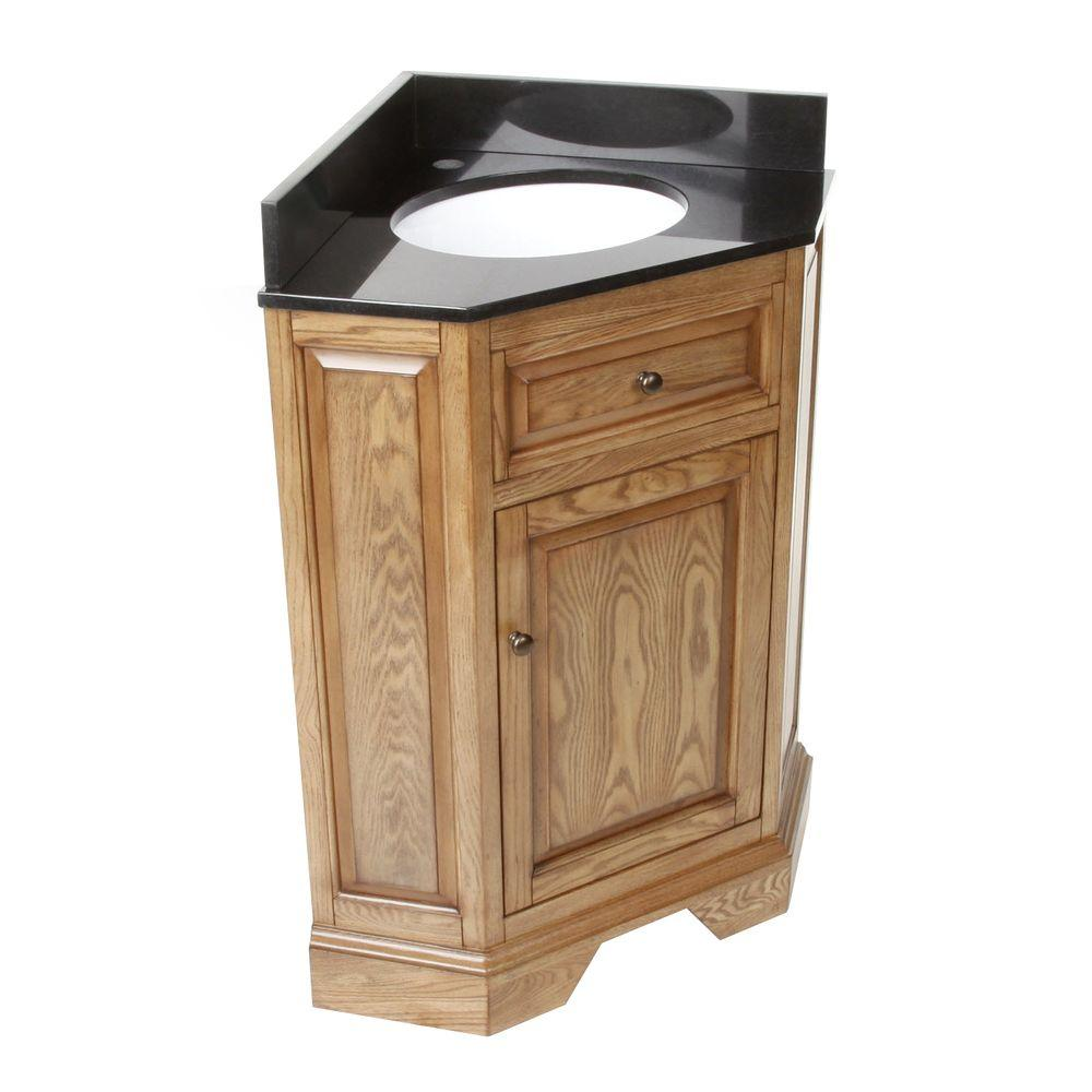 Hembry Creek Chesapeake 26 In Corner Vanity In Driftwood With Granite Vanity Top In Black With White Basin Peg 305cv 2820dw Granite Vanity Tops Corner Vanity Vanity Sink