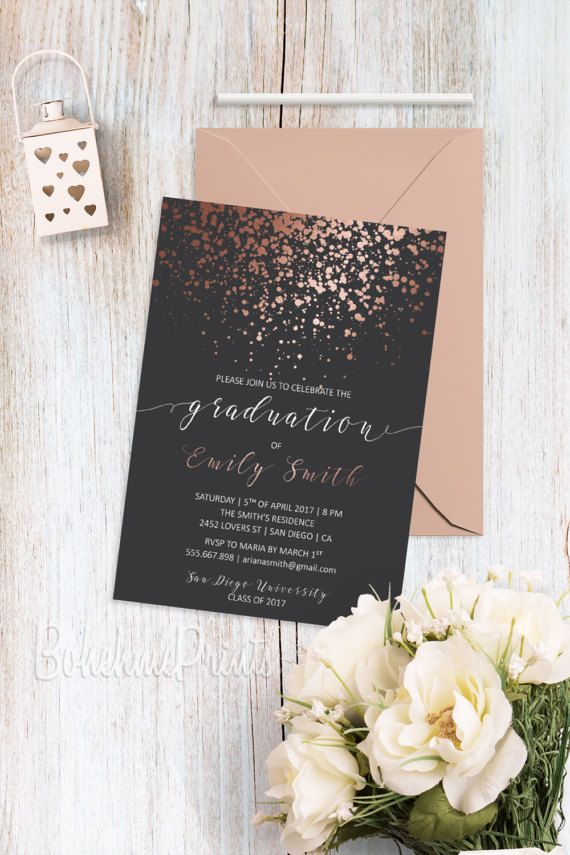 Rose Gold Grad Announcement Rose Gold Invitation Class of 2019