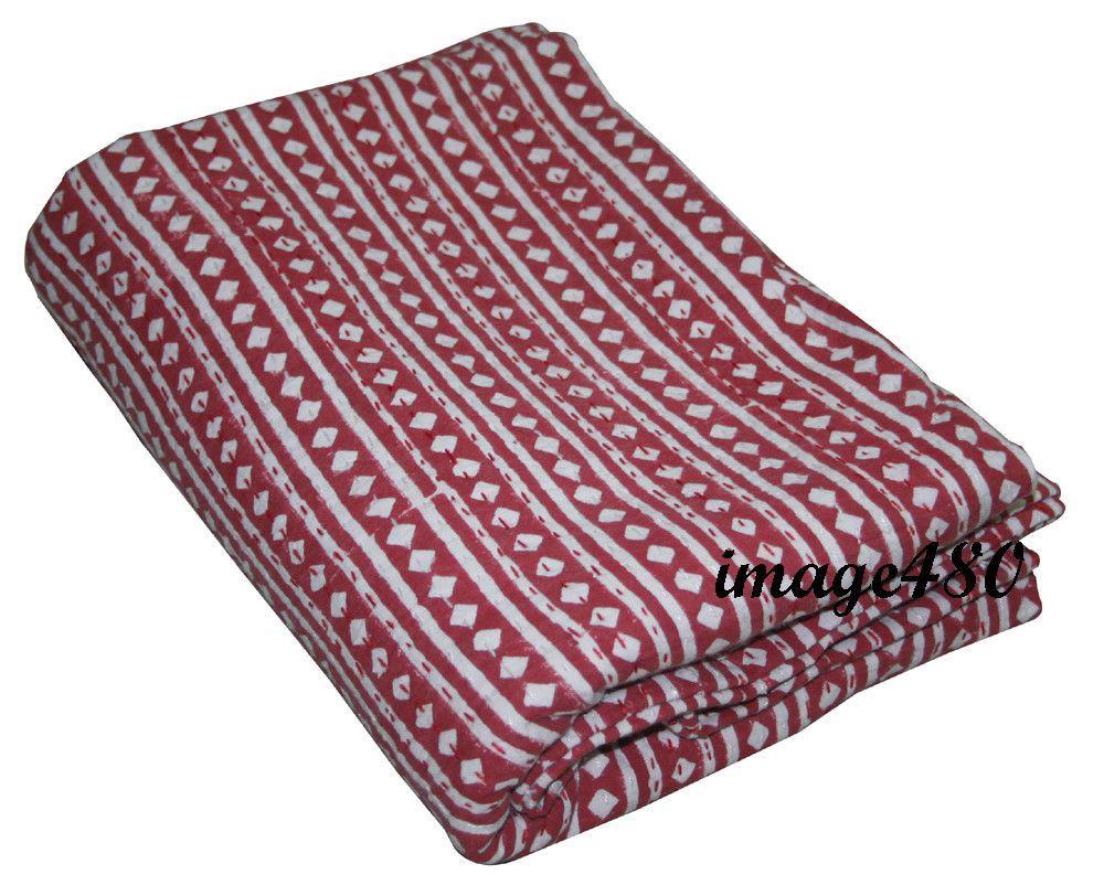 Floral Hand Block Print Queen Kantha Quilt Indian Bedspread Throw Cotton Gudari