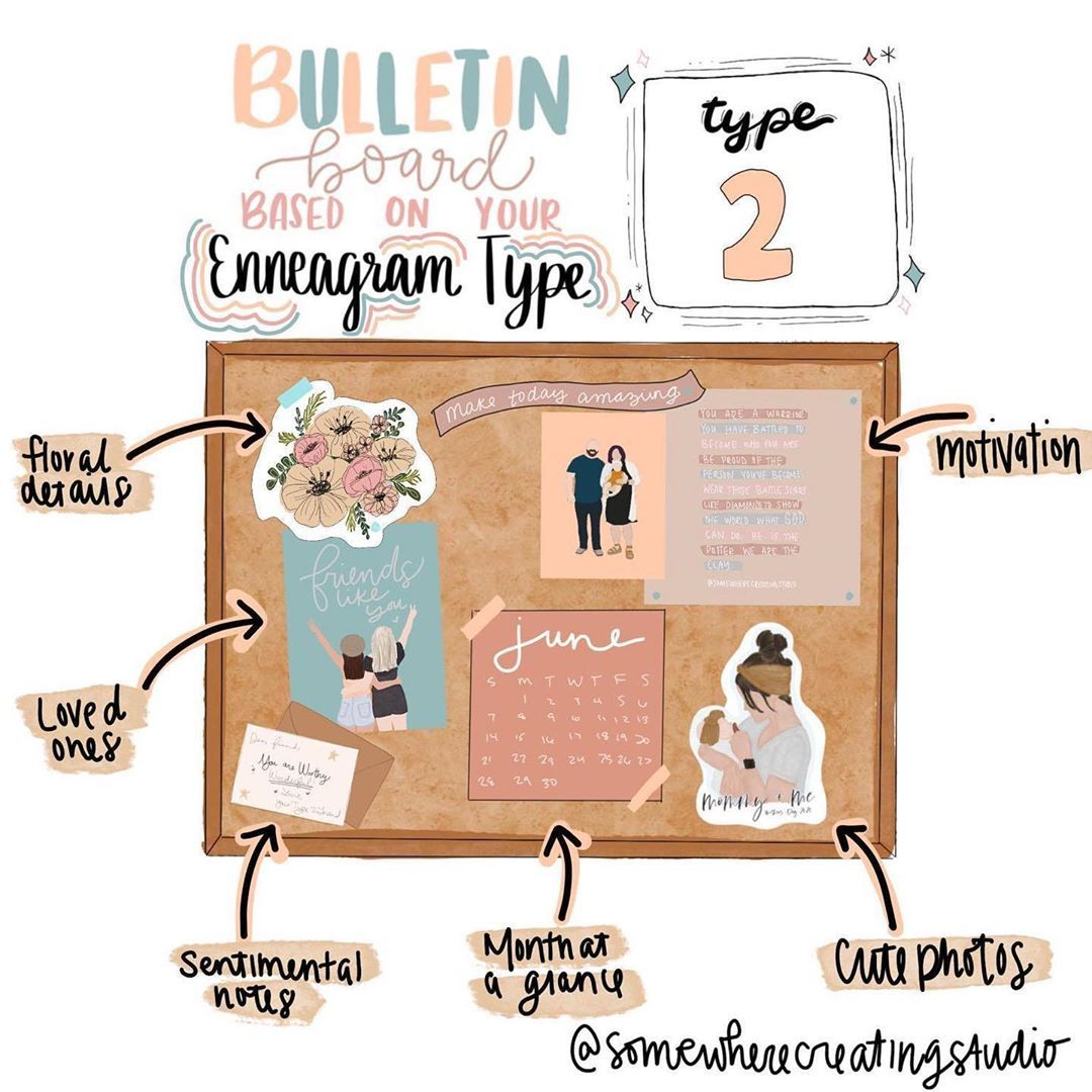 """Somewhere Creating Studio on Instagram: """"I'm so excited for my new series — BULLETIN BOARDS based on your enneagram type! This has been so fun to make! I'll be posting 1-2 everyday…"""""""