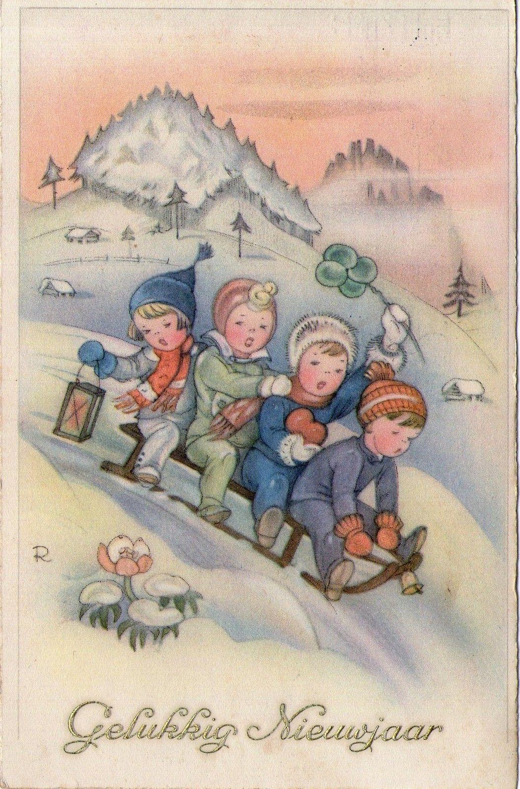 2 ausgestanzte Postkarten mit Kindermotiven im Retro-Look