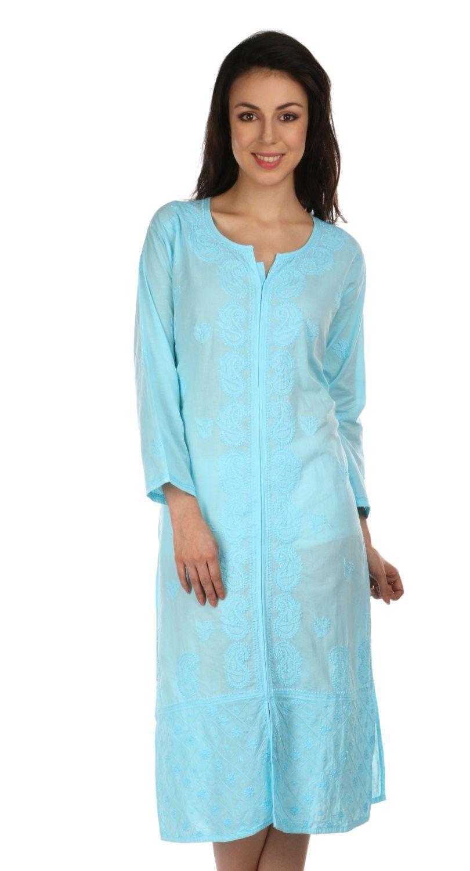 09dabaafe58 India Lucknow Ladies ethnic Chikankari Hand Embroidery kurta/Kurtis/Top/ Tunic for summer wear women/ladies/girls Multiple sizes by Indiankala4u on  Etsy