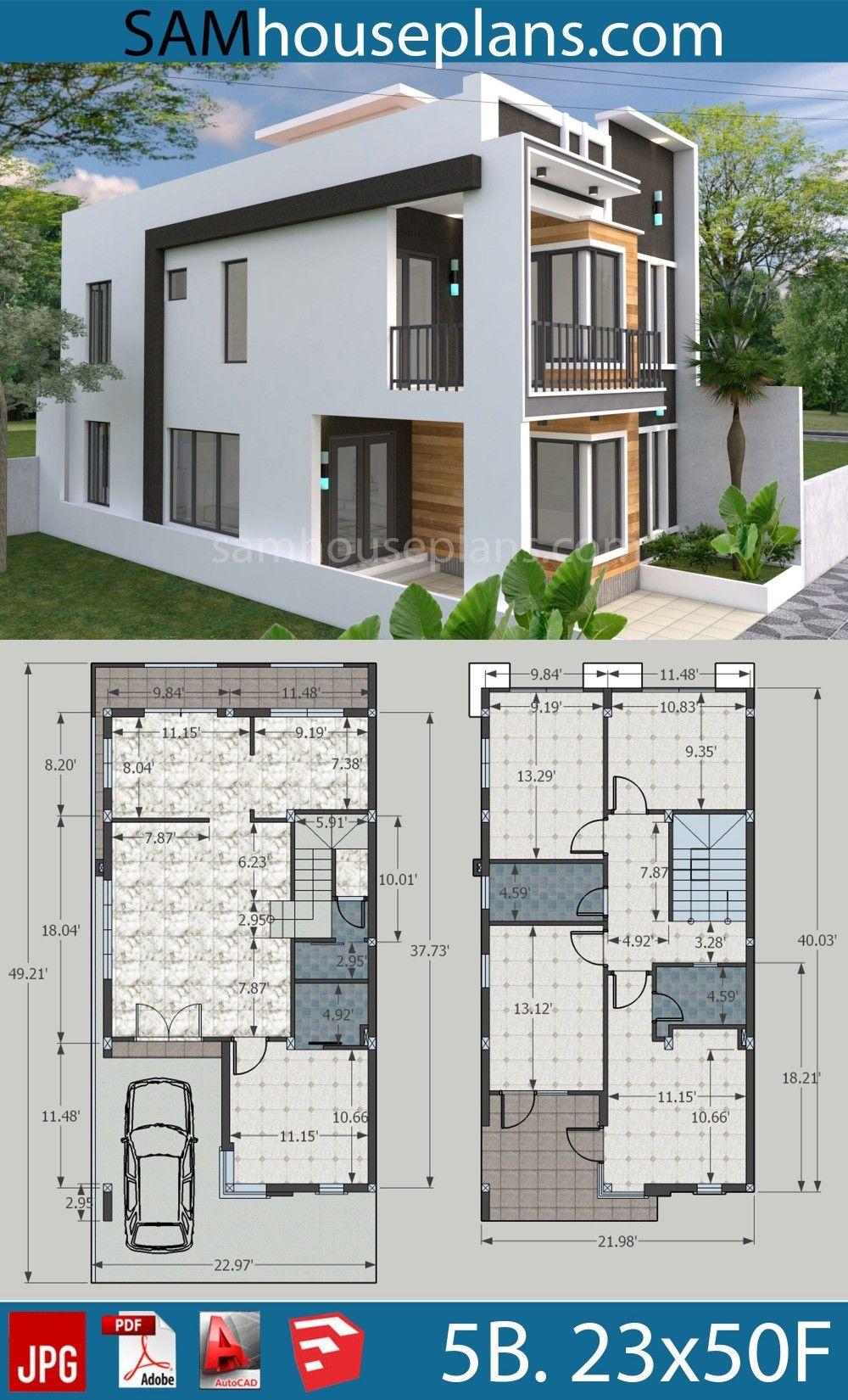Plans De Maison 7x15m Avec 4 Chambres A Coucher Model House Plan Duplex House Design House Architecture Design
