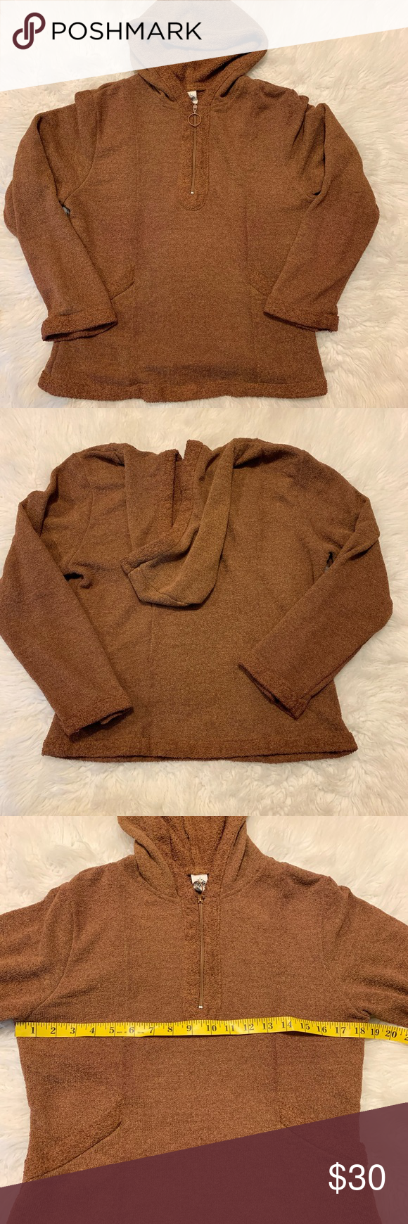 Prana Women's Brown Quarter-Zip Pullover Sweater Features -Front Pockets -Made in the USA  -Women's Size Medium Please see pictures 3 & 4 for measurements   -Good Gently Used Condition GUC No apparent flaws and lots of life left  -Please feel free to ask questions  No trades or modeling requests pleas  A0615 Prana Sweaters