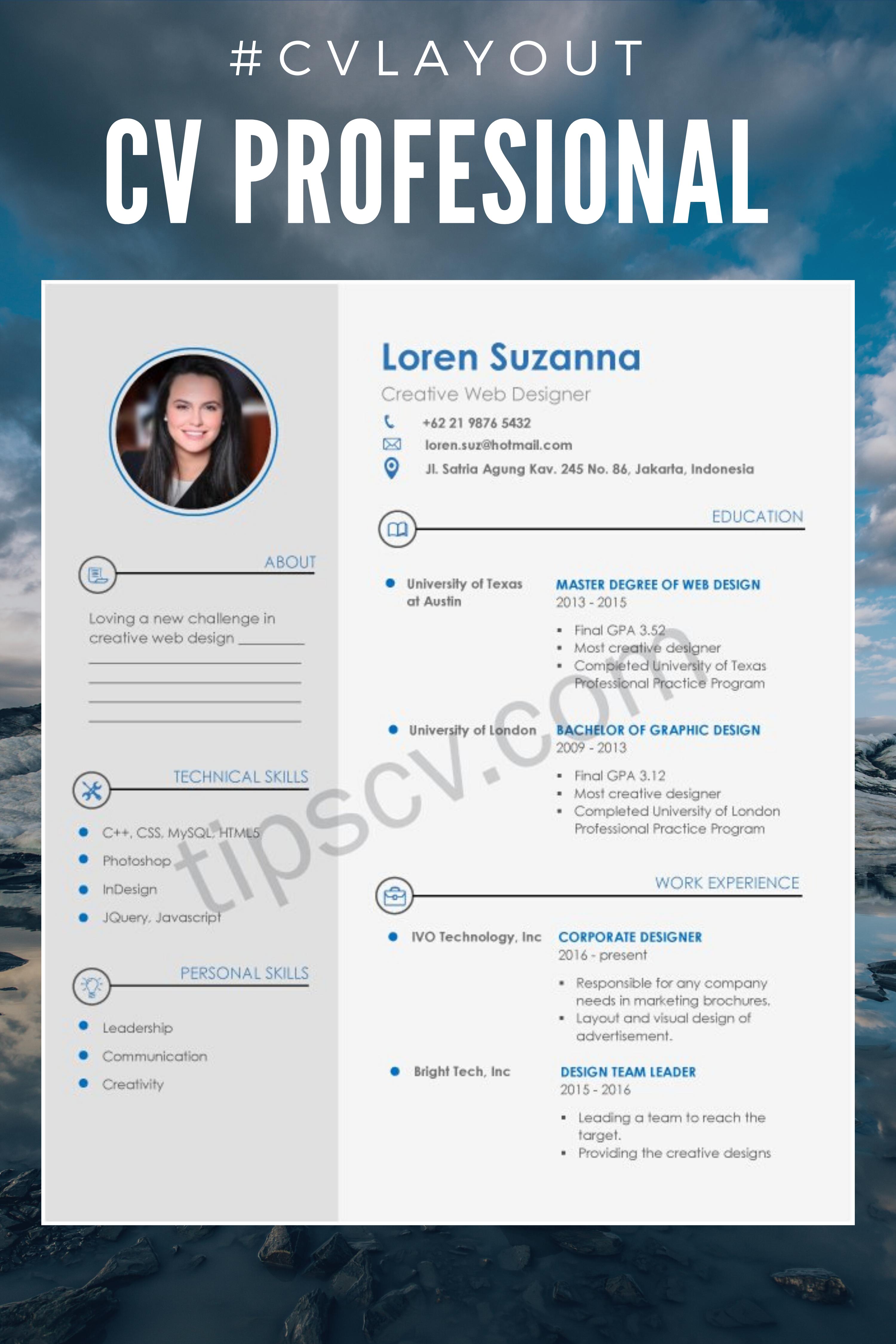 Download Contoh CV Profesional Doc Pdf di 2020