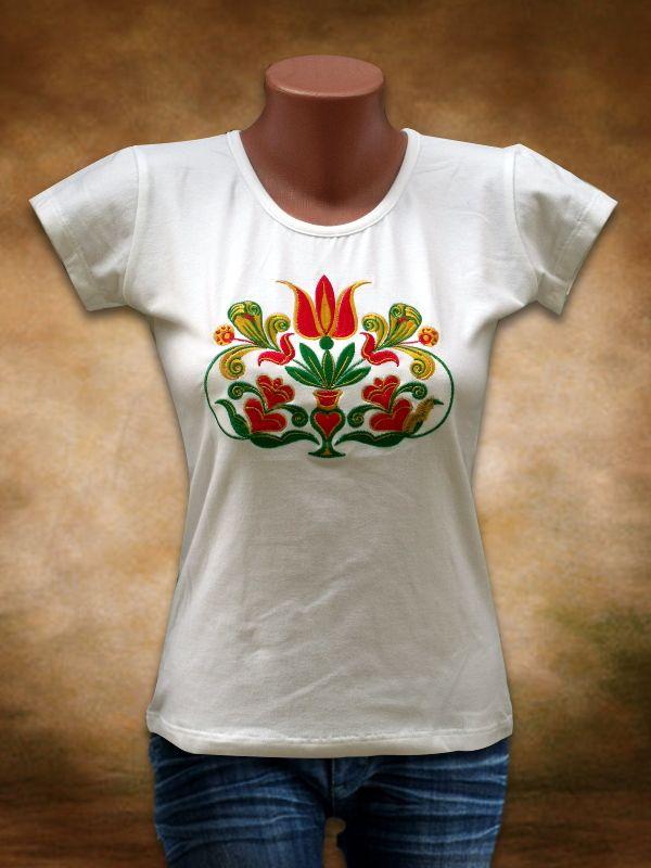 Szervető Hímzett női póló Székely Tulipán mintával - fehér  248c54803d