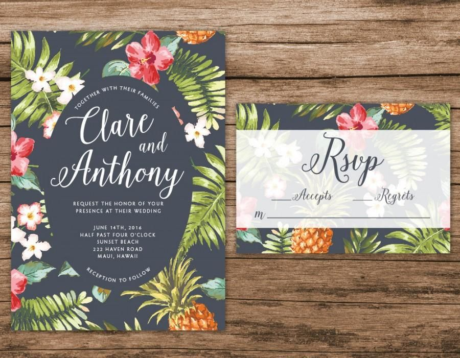 Hawaiian Wedding Invitation Tropical Wedding Invitation Palm Leaves Invitation
