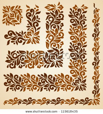 Vector set of floral elements. Seamless pattern for frames and borders. Elements are grouped for convenience by Bariskina, via ShutterStock #framesandborders