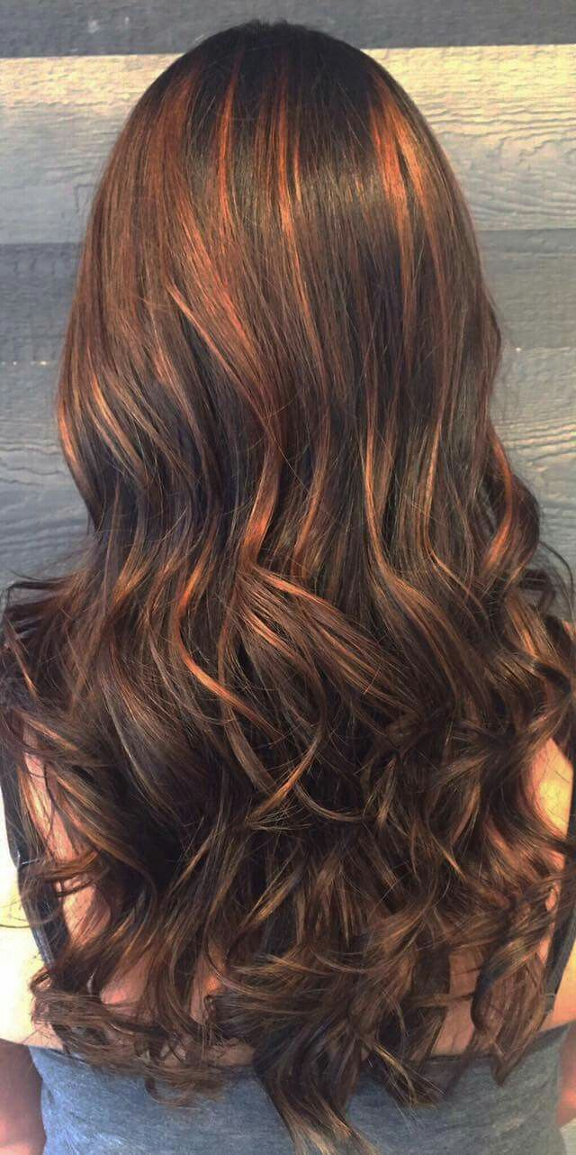 balayage cuivre caramel cheveux bruns