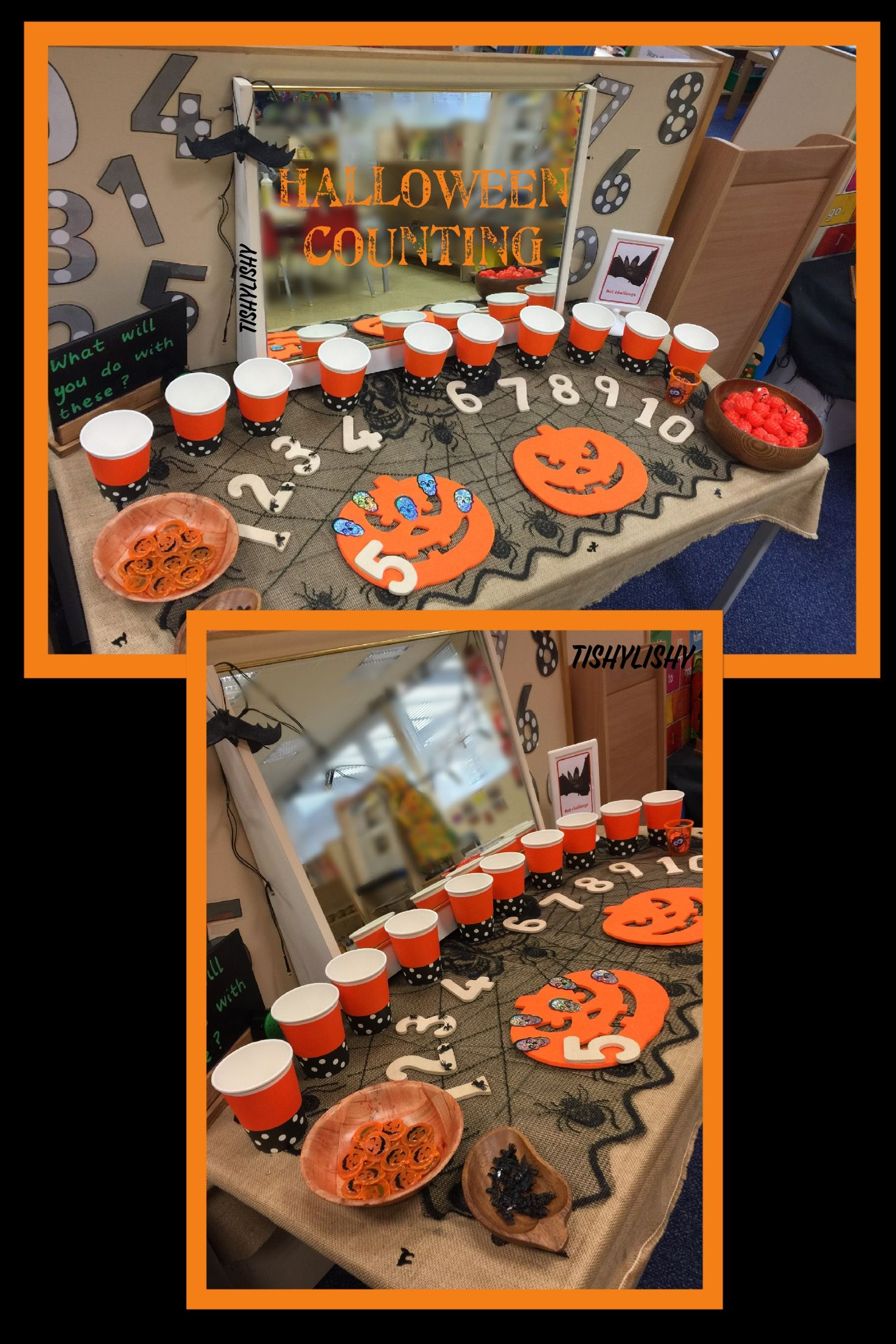 Counting, sorting, patterning with Halloween resources.  Room on