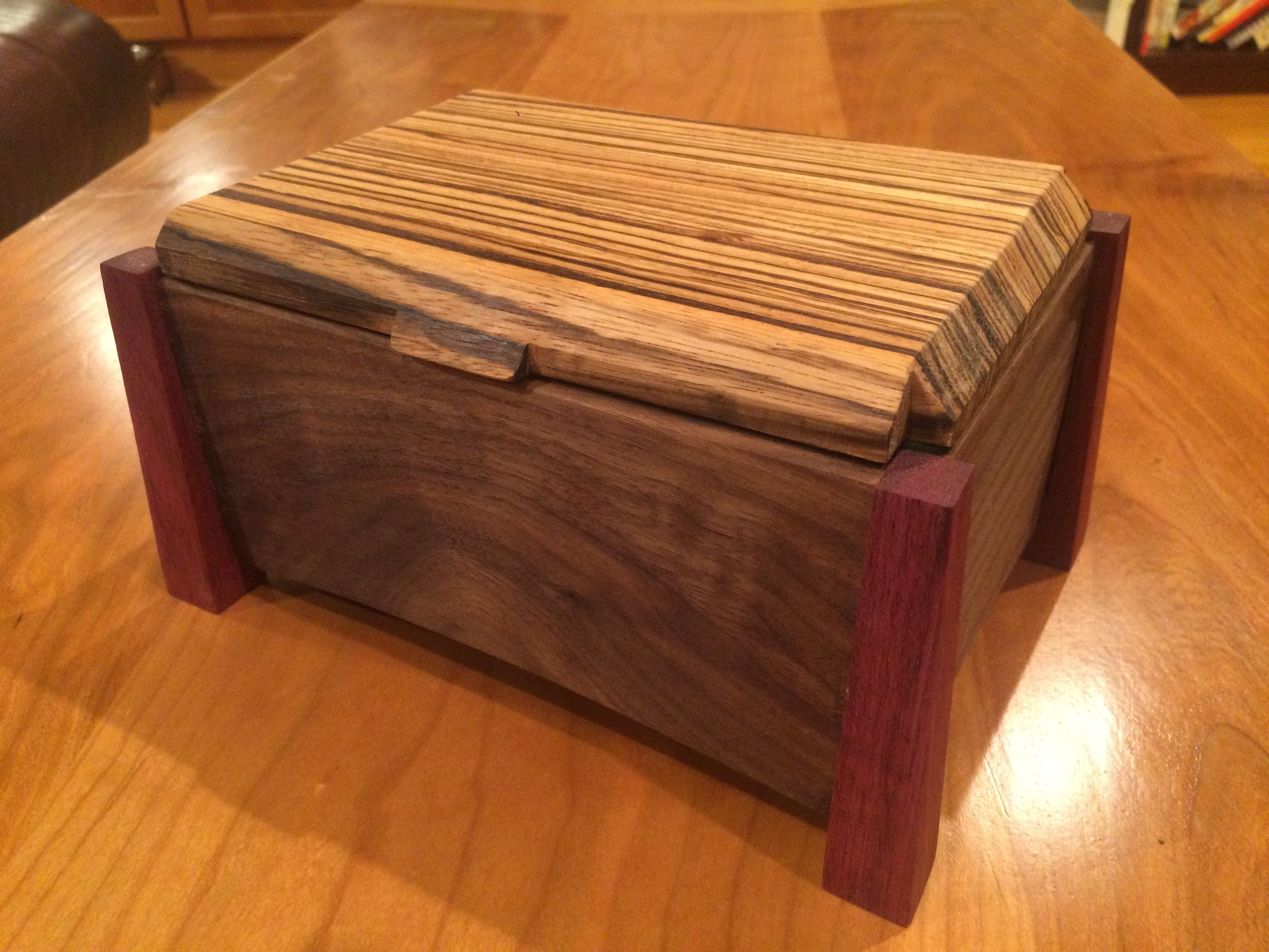 Jewelry box zebra wood walnut purple heart my projects pinterest