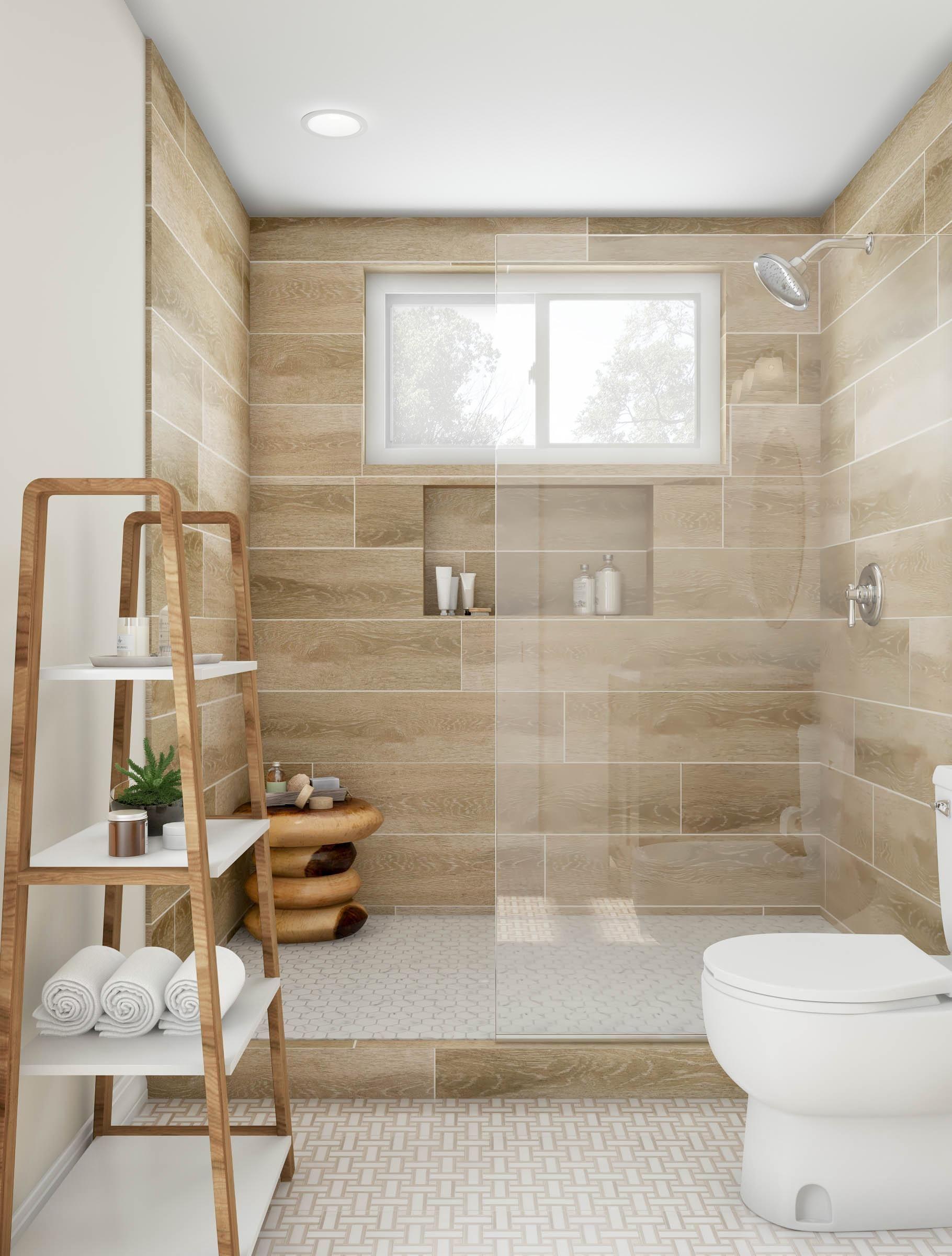 Warm Toned Walk In Spa Shower Bathroom Design Small Simple Bathroom Remodel Bathroom Remodel Master