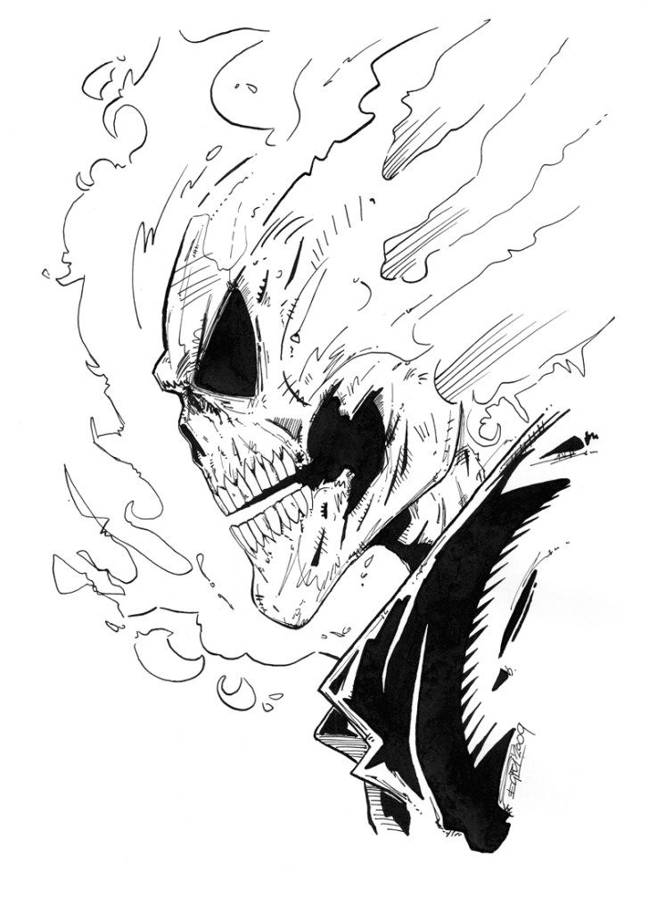 Ghost Rider By Piciart How To Draw Ghost Rider Drawings Ghost Rider Drawing Marvel Drawings Spiderman Art Sketch