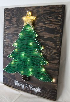 Items similar to Merry & Bright Christmas Tree String-Art w/ warm white LED lights on Etsy #stainedwood
