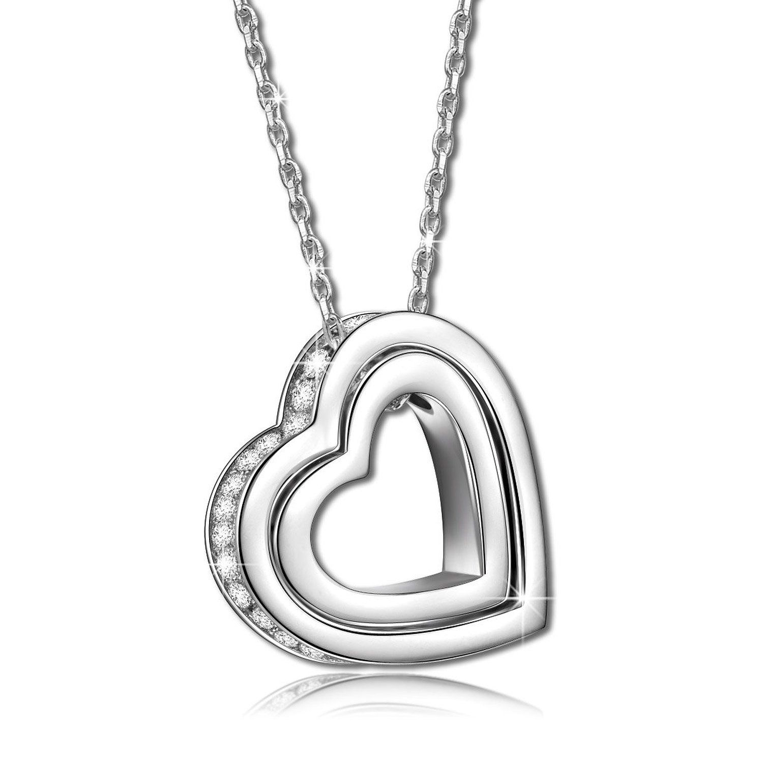 PAULINE & MORGEN LOVE YOU FOREVER 925 Sterling Silver Necklace for Women pY7h5cS