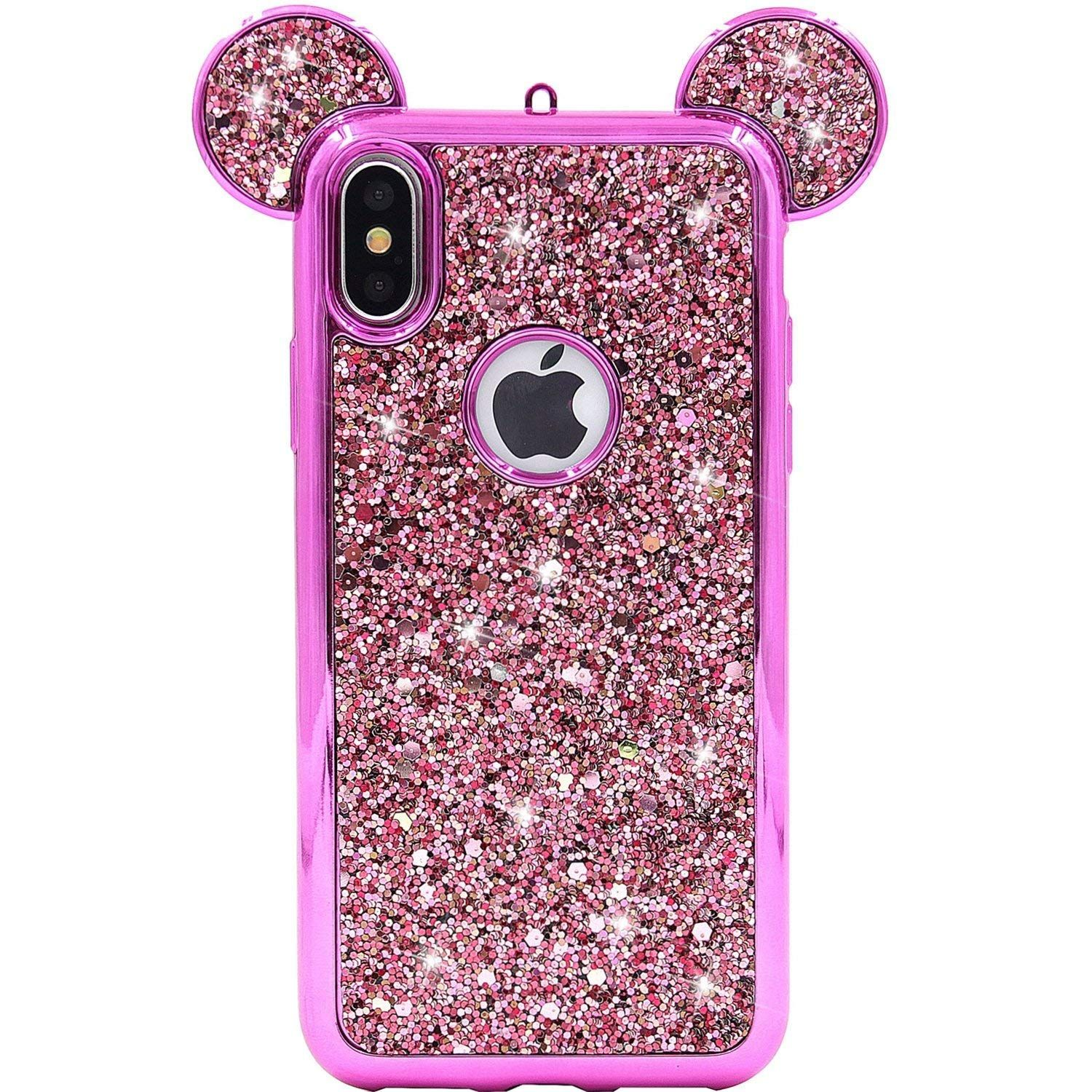 Disney glitter bling minnie mouse ears case iphone 6 7 8