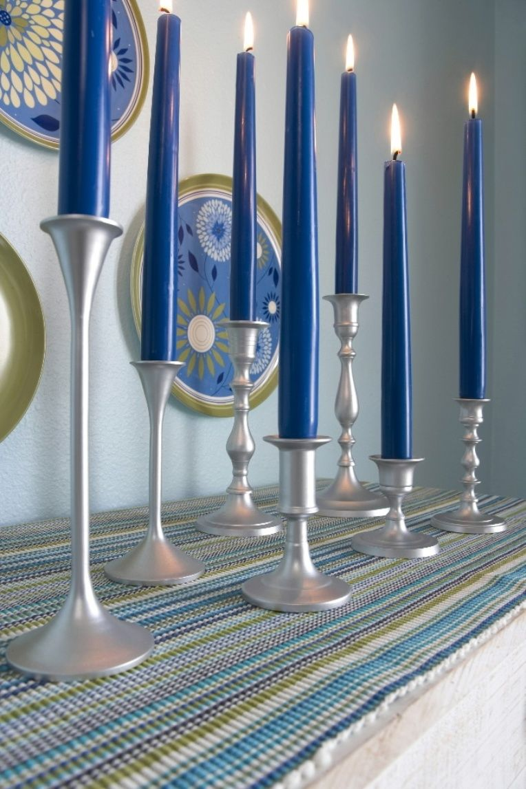 Navy blue taper candles with silver holders decor pinterest
