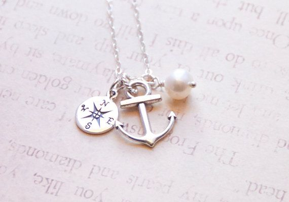 37b6af239 Anchor Compass Necklace, Sterling Silver, Ship Sea Compass Rose, Ocean  Necklace, Navy Wife, Bridesmaid Nautical Gift, Navy Mother Necklace on  Etsy, $36.70
