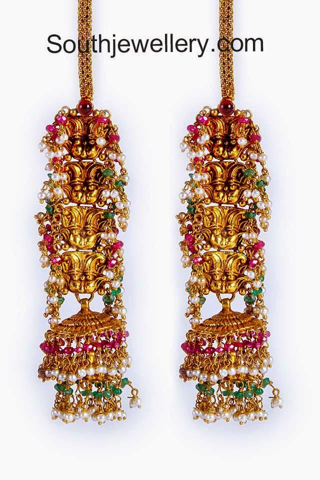 antique finish gold jhumkas | Indian Bridal | Pinterest | Indian ...