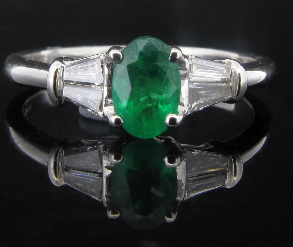 0.55ct Emerald and Diamond Set Ring. - Geeves Jewellers - suppliers of watches and jewellery, London