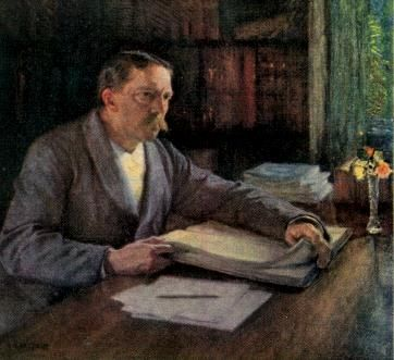 """Den finske målaren Albert Edelfelt (1854-1905) var redan internationellt känd när han ställde ut i Stockholm 1892. Utställningen blev en succé; bland besökarna fanns Rydberg, som inspirerades till en essä kring Kristus och Magdalena. Nationalmuseum försökte köpa det berömda porträttet av Pasteur, men när det visade sig omöjligt beställde man istället ett porträtt av """"ett motsvarande svenskt geni"""": Viktor Rydberg."""