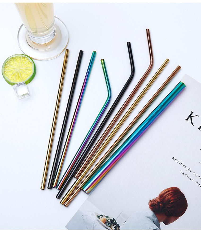 3 PCs Party Bar Stainless Steel Reusable Drinking Gold Metal Straws With Brush
