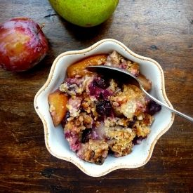 Pear, Plum and Blueberry Crisp with Walnut Streusel