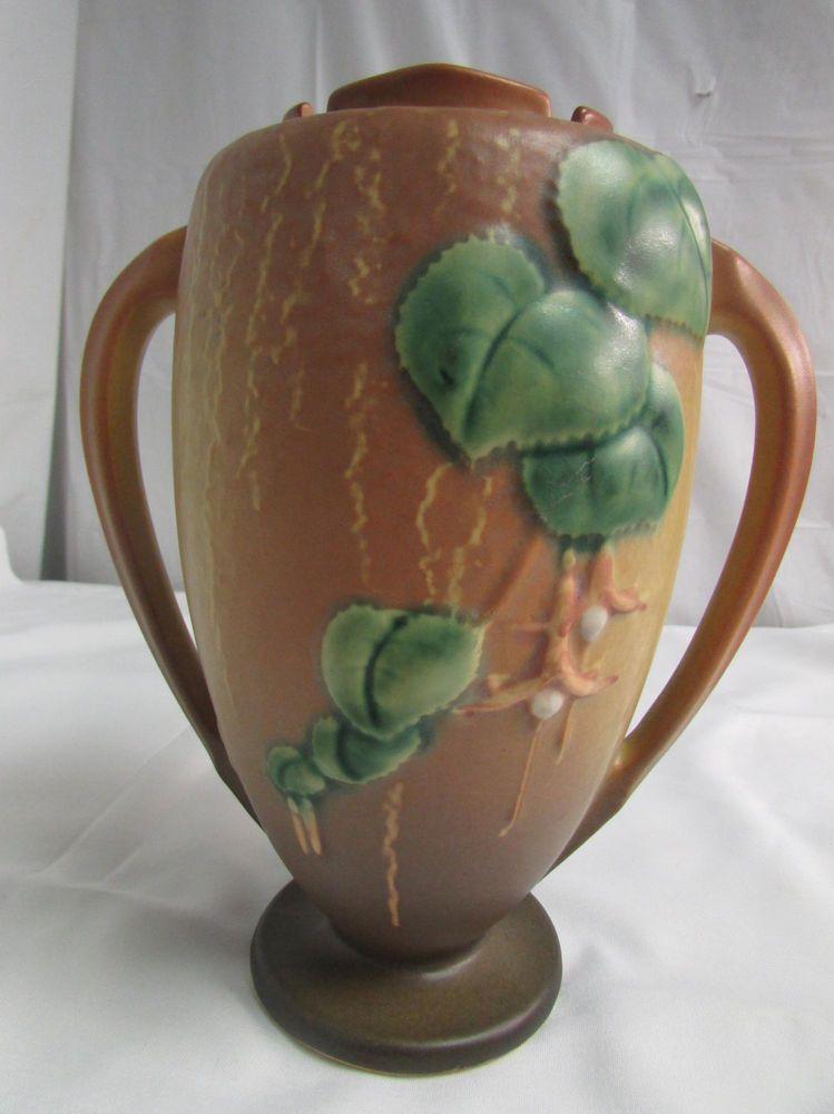 Vintage 1940 Roseville Art Pottery Brown Fuschia Vase Double Handled
