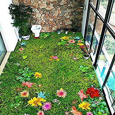 Ohcde Dheark Custom 3D Stock Wandmalereien Blumen Rasen Wohnzimmer