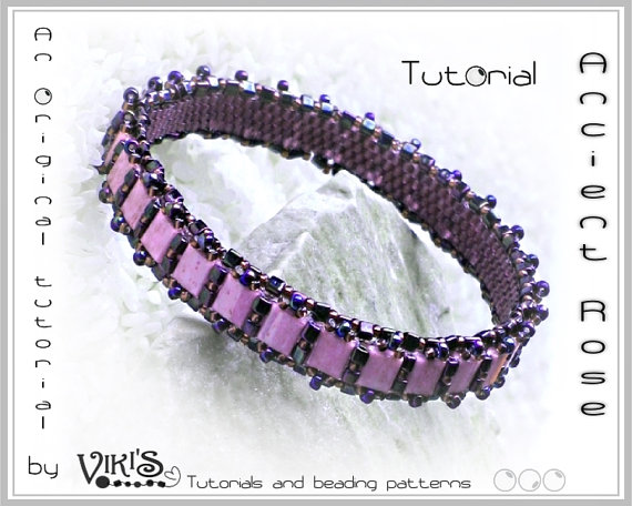 Bangle Tutorial with Tila beads: Ancient Rose Tila Bangle Bracelet - Downloadable PDF
