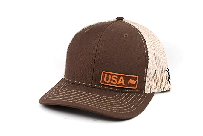 OSFA//Brown//Tan Branded Bills /'South Dakota Native Leather Patch Hat Curved Trucker