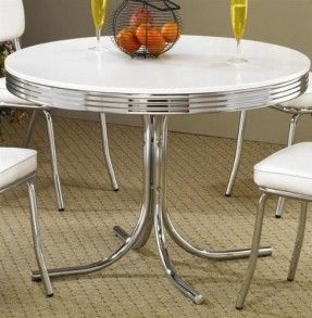 Retro Dining Table Chrome Metal 50s Kitchen Dinette By Coaster Home  Furnishings,