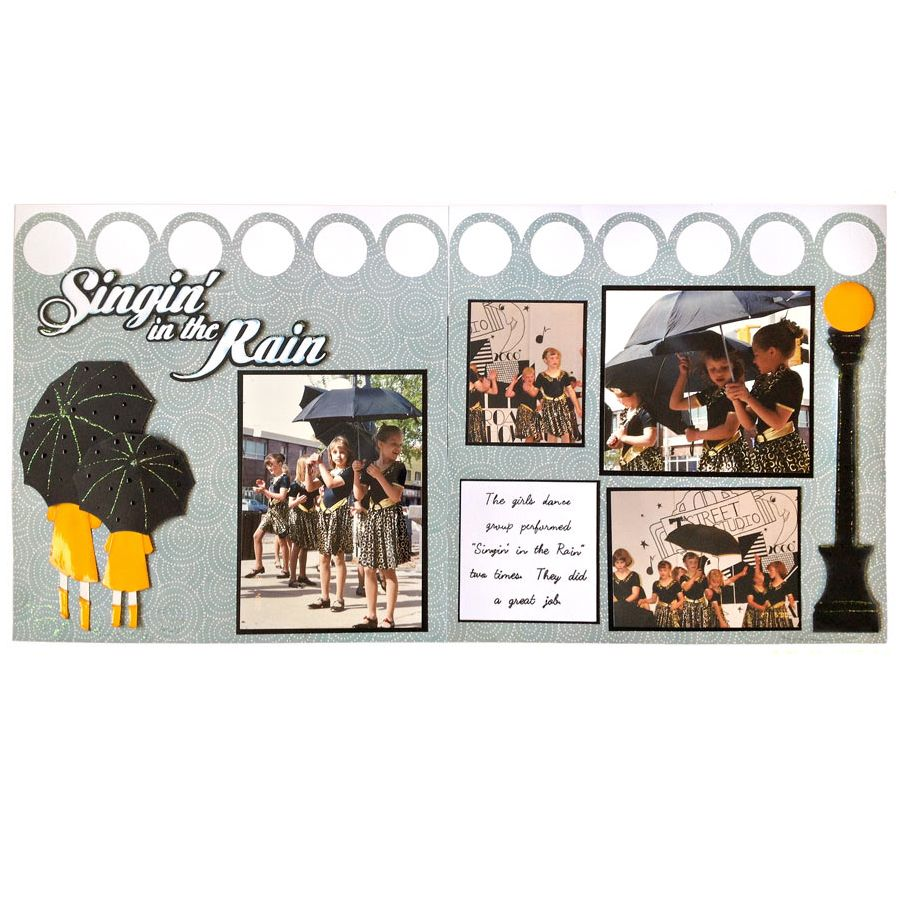 Scrapbook ideas and tips - Singing In The Rain Scrapbook Layout Tips For Making Your Scrapbook Embellishments Look Wet