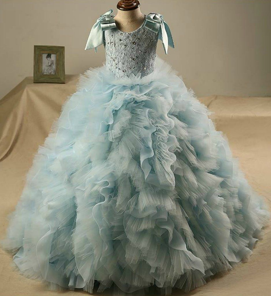 Lake blue ball gown