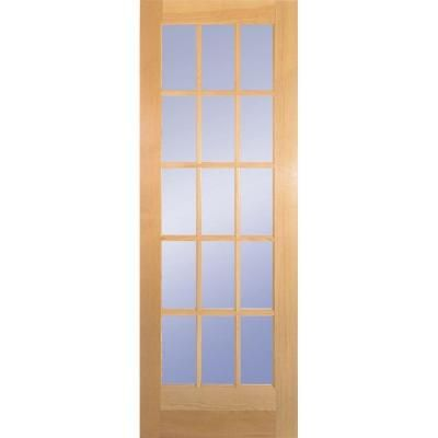 Builders Choice 30 In X 80 In 30 In Clear Pine Wood 15 Lite French Interior Door Slab Hdcp151526 French Doors Interior Slab Door Home Depot French Doors