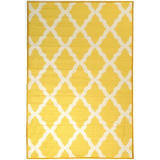 Glamour Collection Yellow Contemporary Moroccan Trellis Design Kids Rug Non-slip Kitchen and Bathroom Mat Rug (8'2 x 9'10)