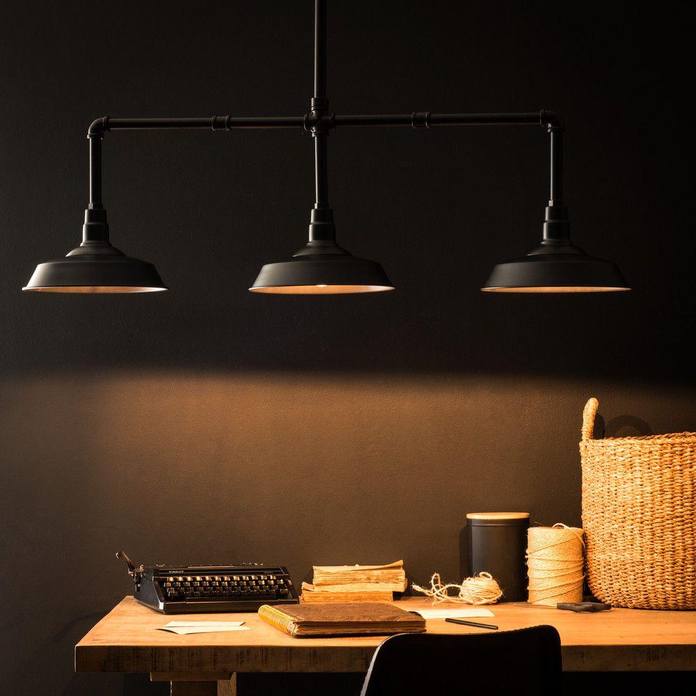 Suspension 3 Lampes En Metal Noir L 104cm Maisons Du Monde Svet