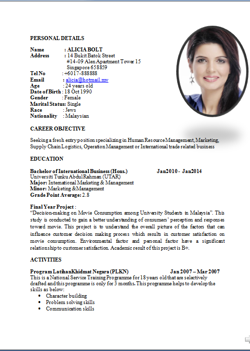 Sample Curriculum Vitae For Job Application How To Write A Cv Or