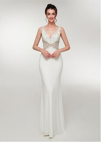 7f08a475566 Stretch Satin V-neck White Long Mermaid Prom Dress