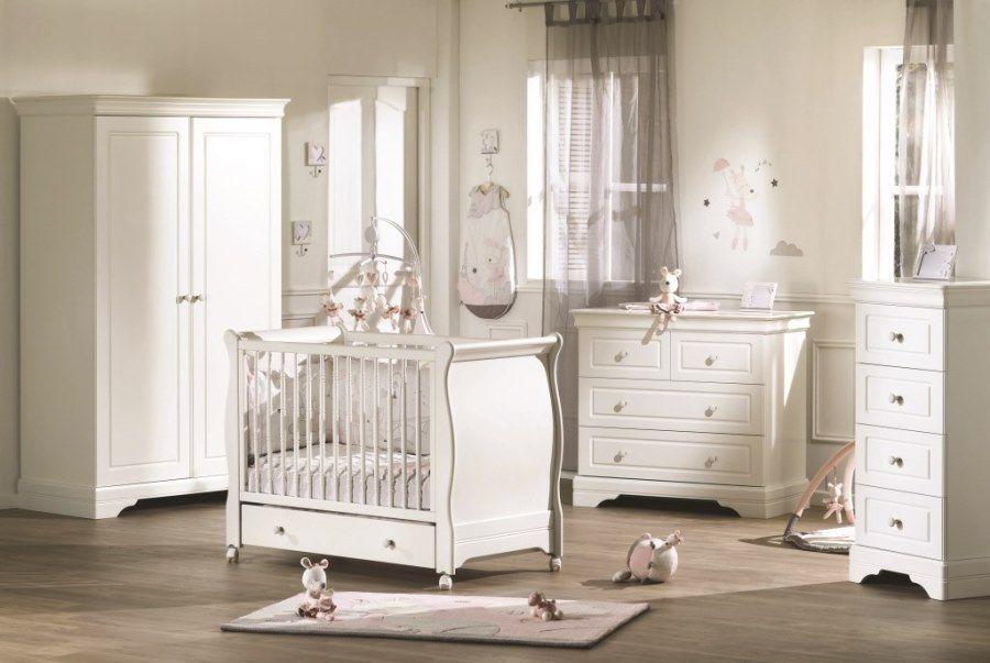 Chambre Elodie Blanc Lit 60x120 Commode Armoire Armoire Chambre