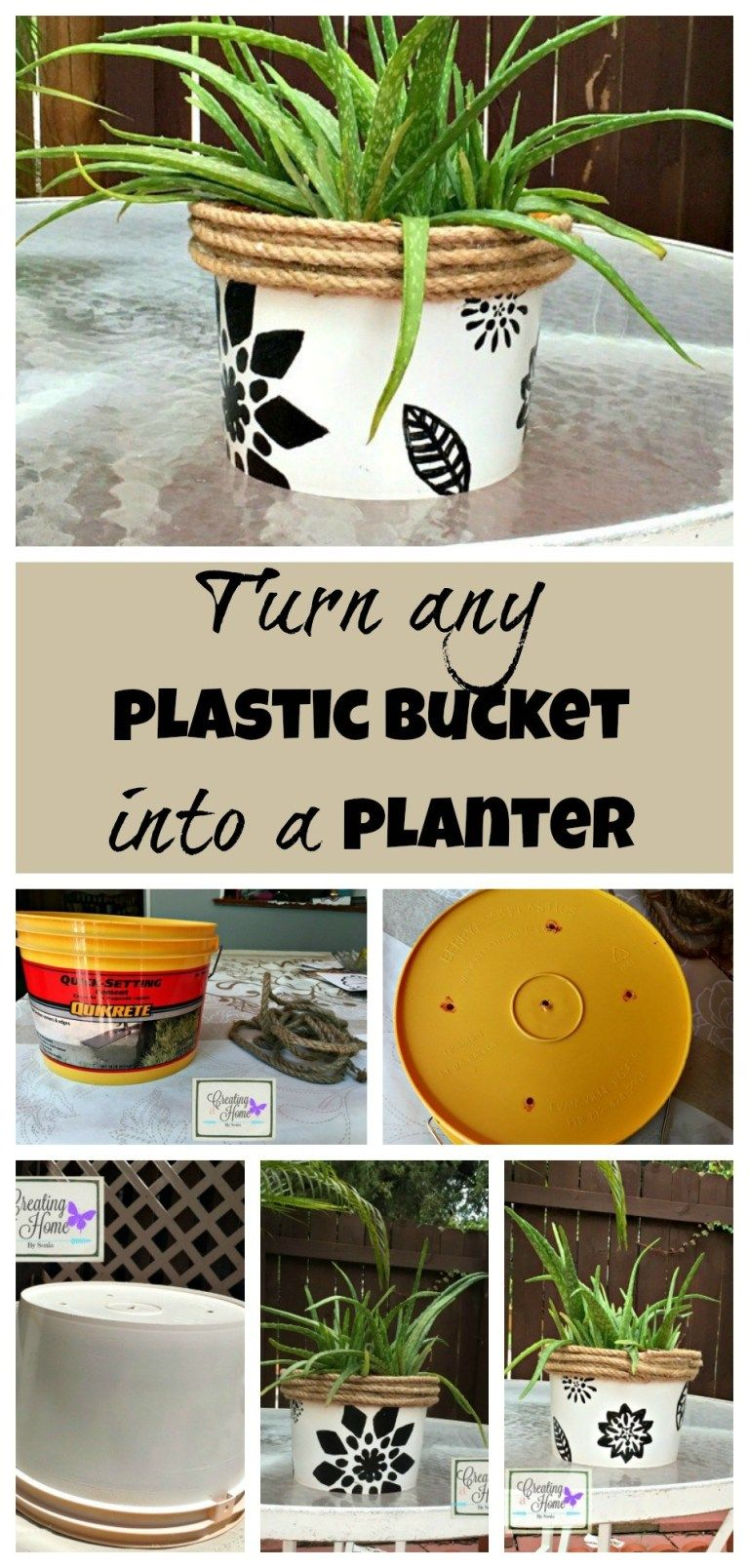From Plastic Bucket To Planter Plant Pot Diy Plastic Flower Pots Flower Pots Outdoor