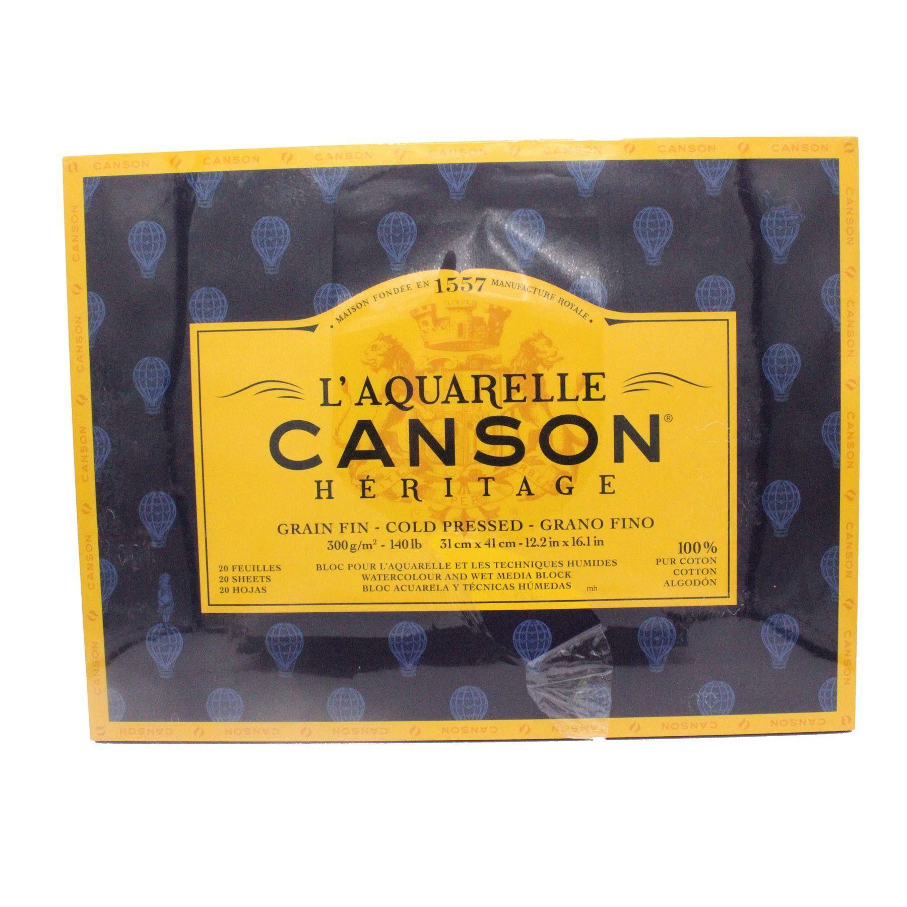 Canson L Aquarelle Heritage Cold Press Watercolour Block 300gsm
