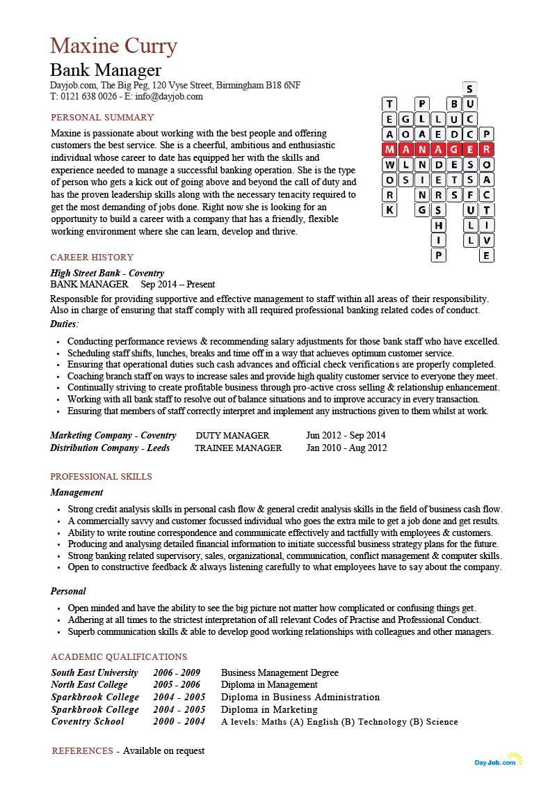 Bank Manager Resume Crossword Template CV Download Branch Assistant You Can