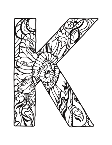 Letter K Zentangle Coloring Page Coloring Pages Printable Coloring Pages Alphabet Coloring Pages