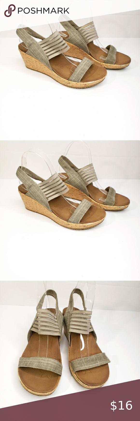 Sketchers Beverlee Smitten Wedge Sandal Size 9 Sketchers Beverlee Smitten Kitten Taupe Sandal Comfort Wedge Heel In 2020 Womens Shoes Wedges Taupe Sandals Wedge Shoes