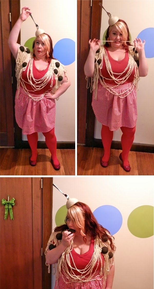 Use thick yarn for pasta in a spaghetti and meatballs costume - food halloween costume ideas