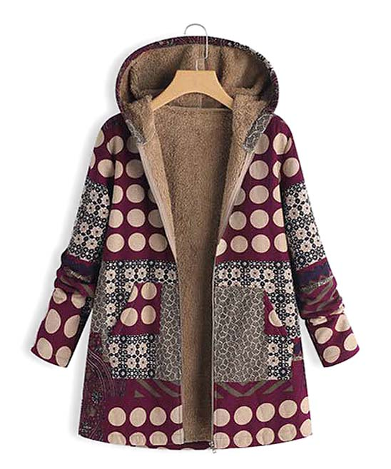 Womens Plus Size Overcoat Outwear Hoodies Retro Floral Pattern Patchwork Warm Fleece Lined Cardigan Jackets
