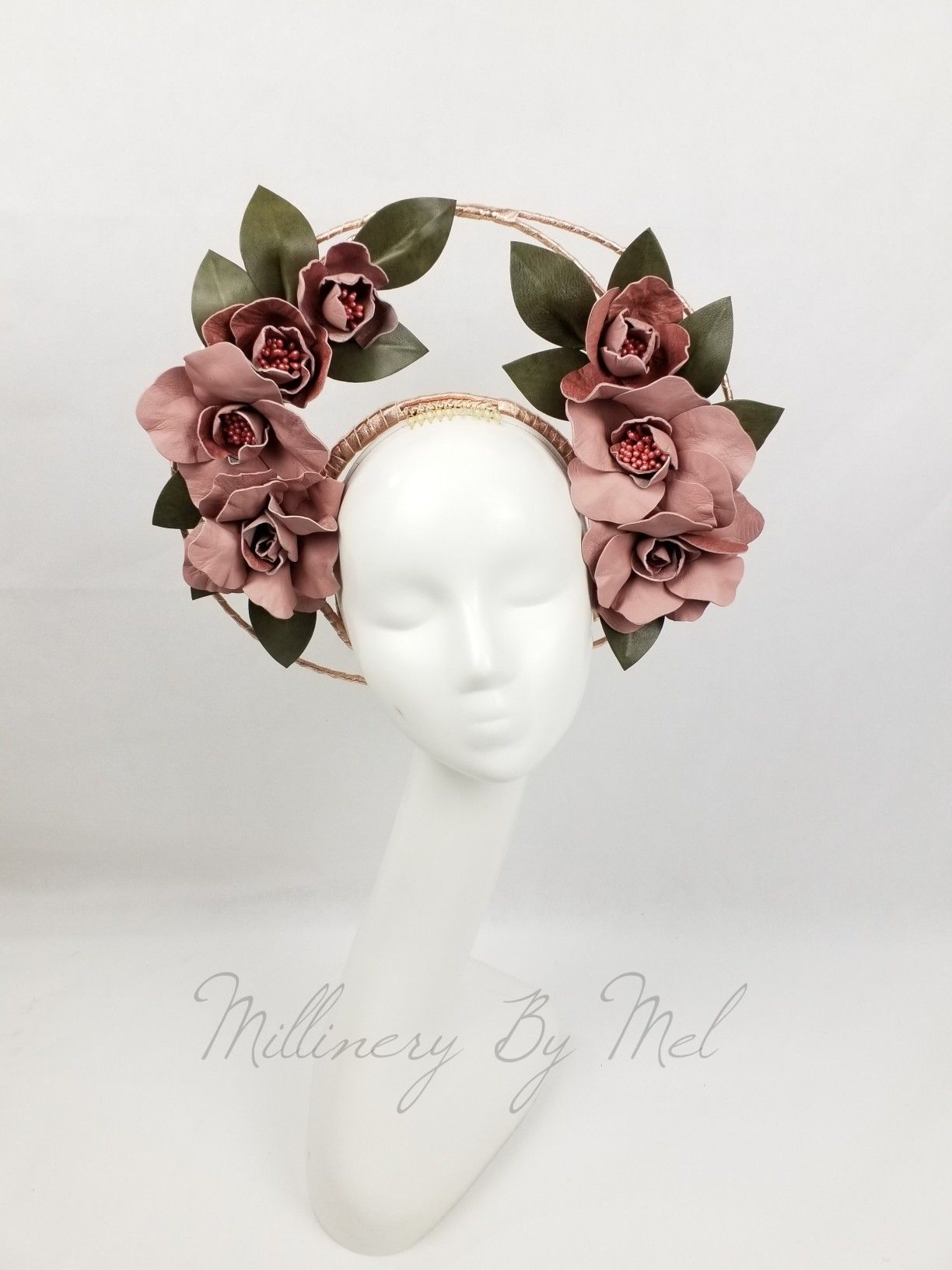 Floral leather fascinator  a01d02d219a