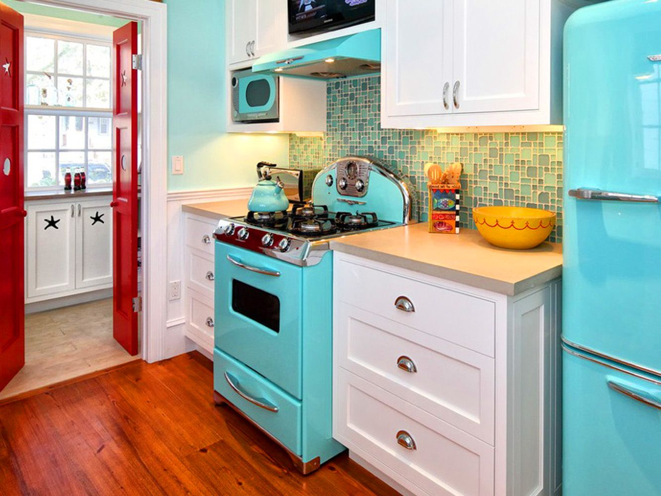 1950s Home Decor Interiors Color Pastel Aqua Red Image