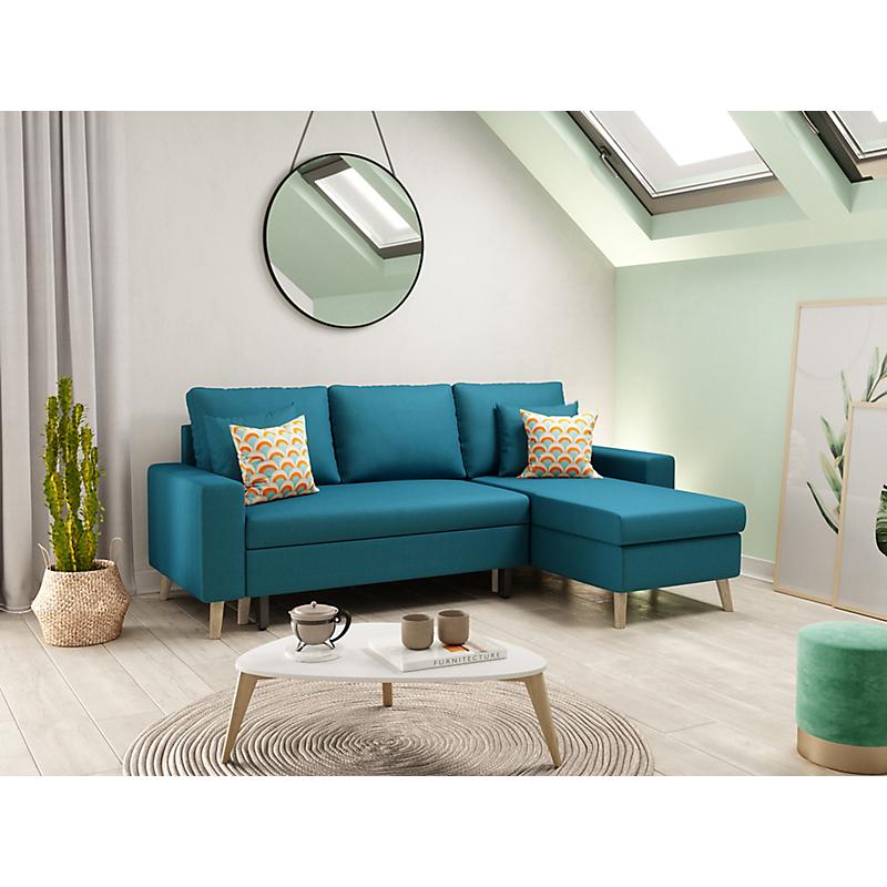 Canape D Angle Scandinave Reversible Convertible Avec Coffre En Tissu Bleu Petrole Olga Maison Et Loisirs E Le En 2020 Canape Angle Canape D Angle Scandinave Canape